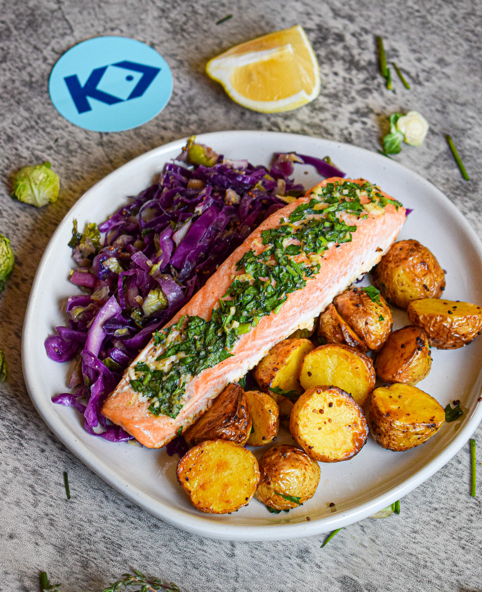 oven roasted salmon with harvest salad and mustard roasted potatoes