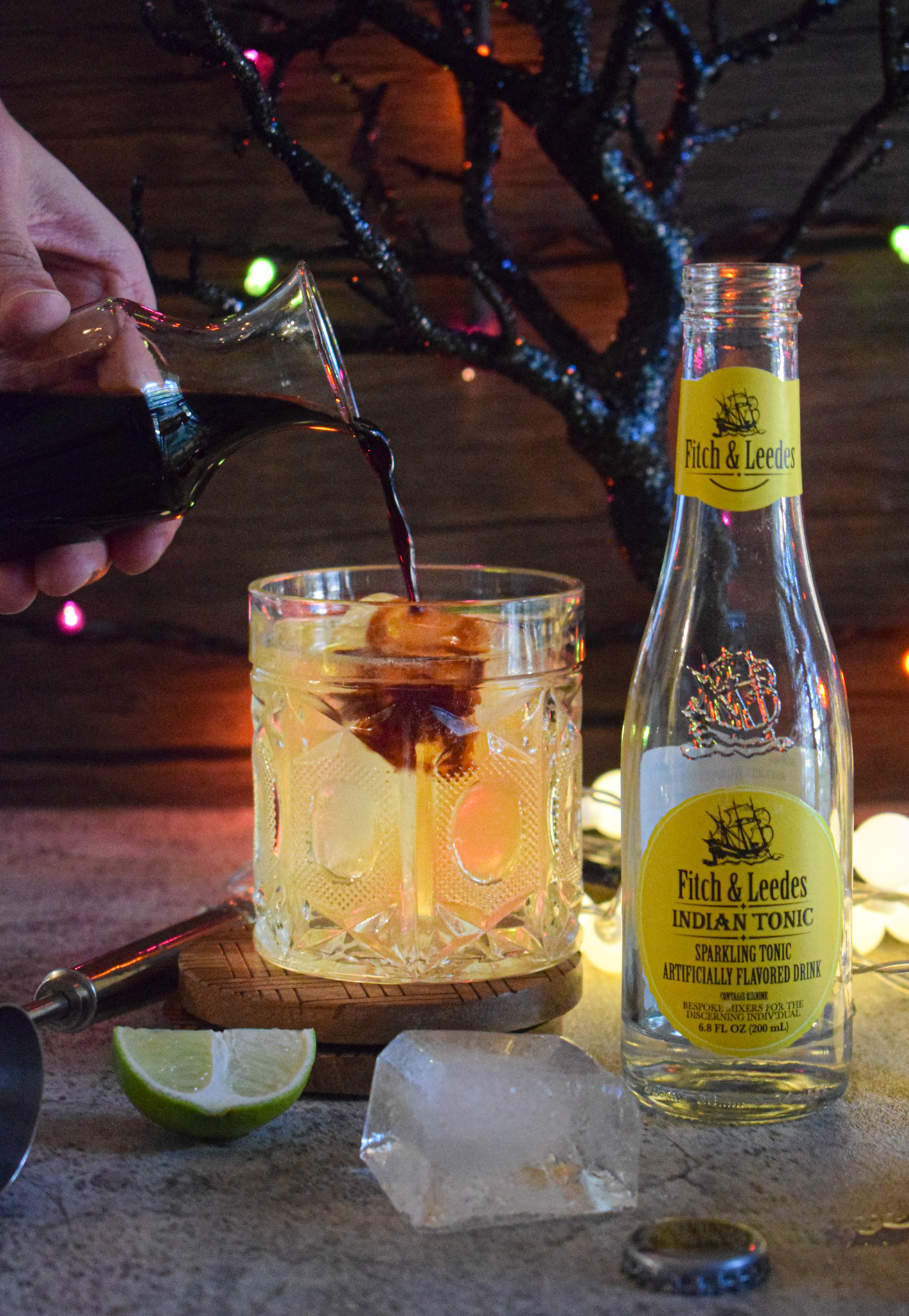 spooky halloween gin cocktail recipe using fitch & leedes premium Indian tonic water