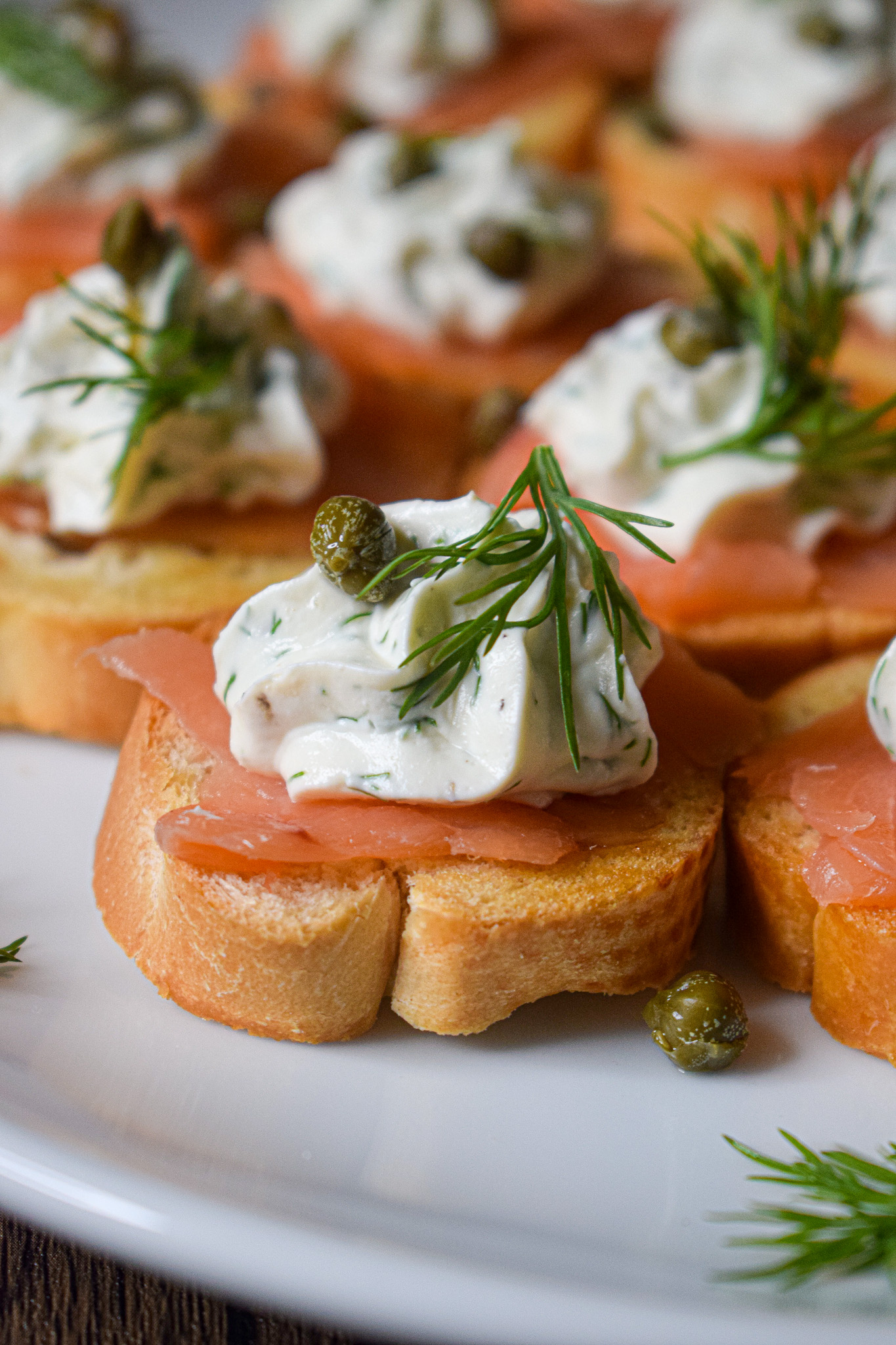 smoked salmon crostini appetizer  with capers, cream cheese and dill  bridal shower recipe