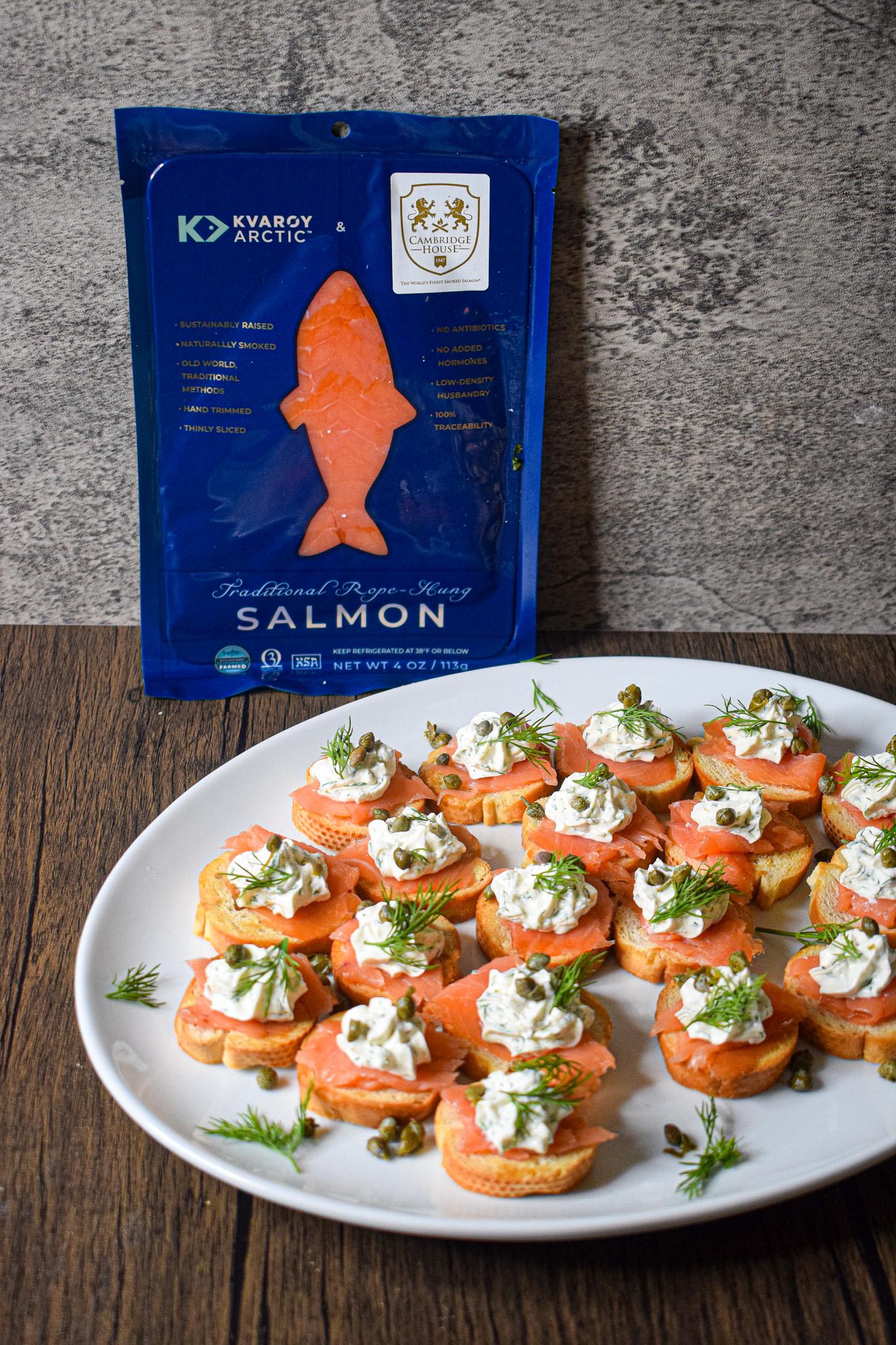 smoked salmon crostini with kvaroy arctic salmon