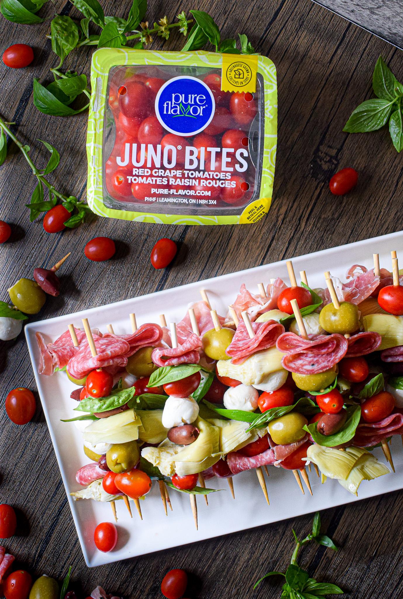pure flavor juno bites red grape tomatoes antipasto skewers appetizer recipe