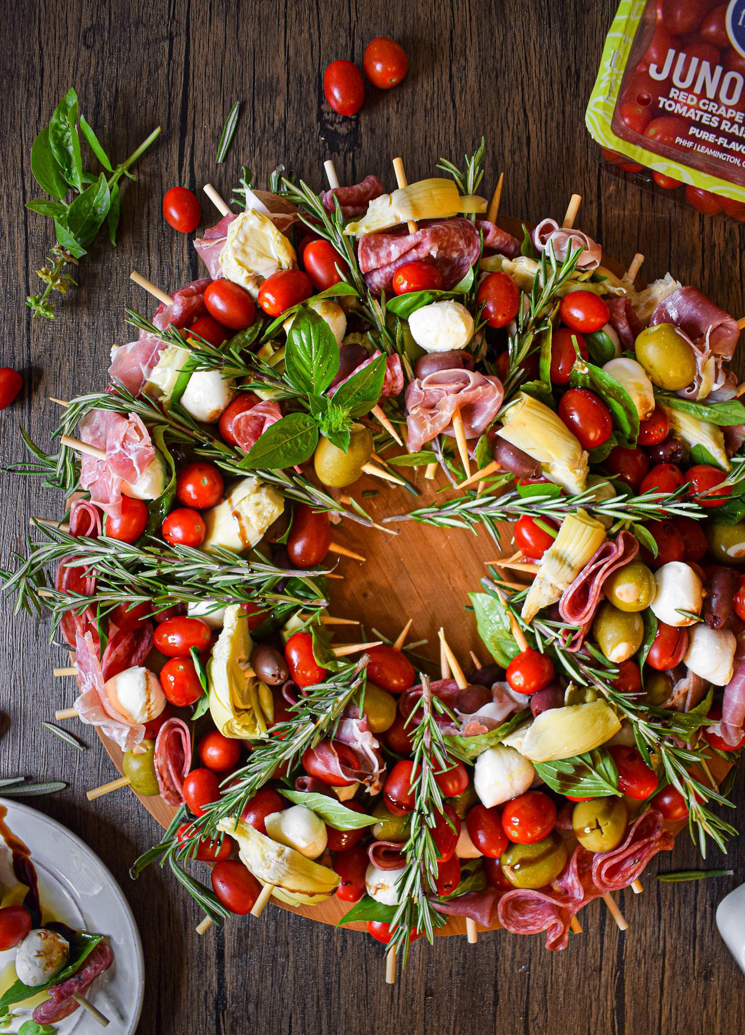 antipasto skewer christmas wreath appetizer recipe