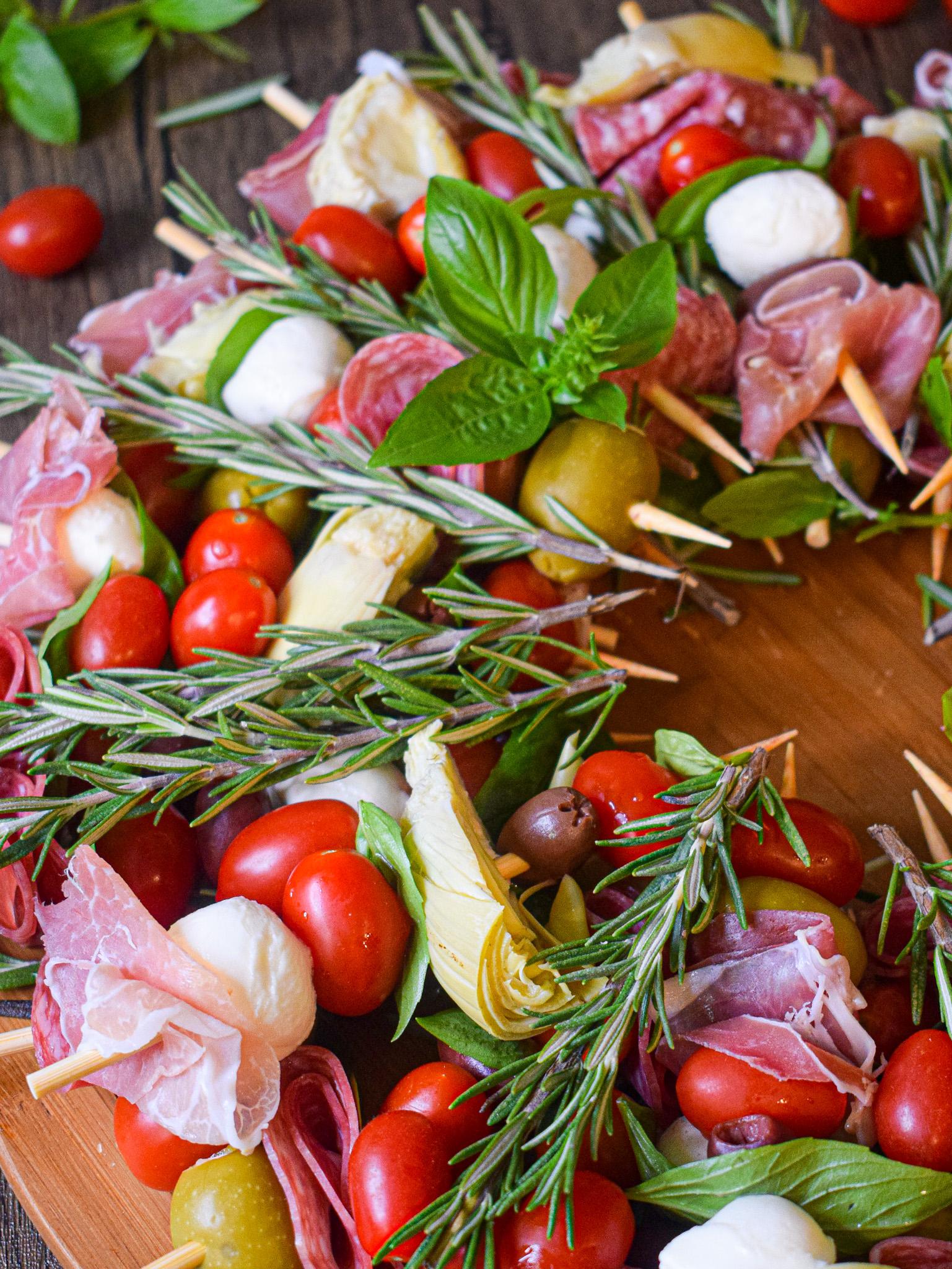italian antipasto christmas wreath appetizer recipe